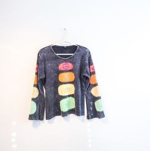 Boho Peace Flower Embroidered Gray Top size S/M